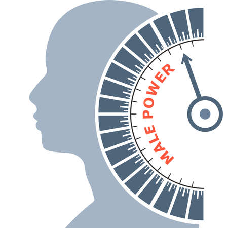 Scale with arrow. The male power level measuring device icon. Sign tachometer, speedometer, indicators. Infographic gauge element. Head of man silhouette. Illustration