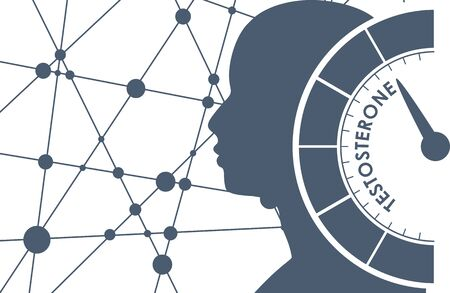 Hormone testosterone level measuring scale. Health care concept illustration. Head of man silhouette. Connected lines with dots