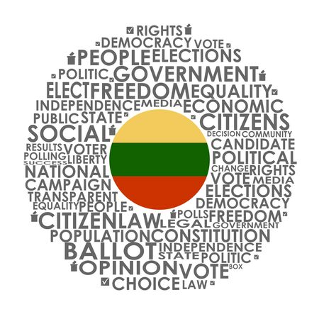 Words cloud relative for voting. Circle frame. Flag of the Lithuania