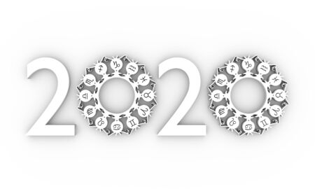 New Year and Christmas celebration card template. Zodiac circle with 2020 new year number. 3d rendering Stok Fotoğraf
