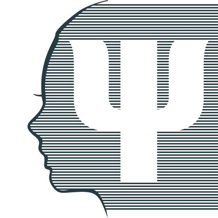 Face profile view. Elegant silhouette of a female head. Beautiful woman portrait. Thin line style. Psi symbol as the beginning of a psychology word.