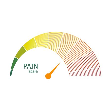 Color scale with arrow from green to red. The pain level measuring device icon. Sign tachometer, speedometer, indicators. Colorful infographic gauge element. Stock Illustratie
