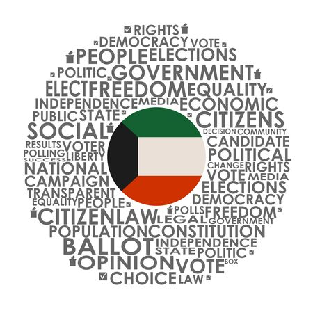 Words cloud relative for voting. Circle frame. Flag of the Kuwait