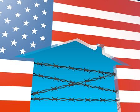 Illustration of illegal migration to USA. Barbed wire closed home icon textured by national flag. 3D rendering