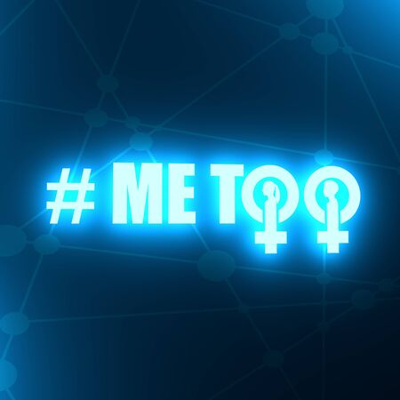 Me too hashtag. Social movement concerning sexual assault and harassment. Female sign icon. Silhouette of woman head. 3D rendering 版權商用圖片