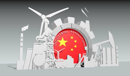 Energy and power industrial concept. Gear with flag of the China. Energy generation and heavy industry. Industrial revolution text. 3D rendering. Stock Photo