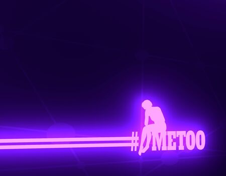 Me too hashtag. Social movement concerning sexual assault and harassment. Sadness woman sitting over the text. 3D rendering. Neon shine