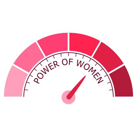 Indicator with arrow from pink to dark pink. The measuring device icon. Power of women text. Ilustrace