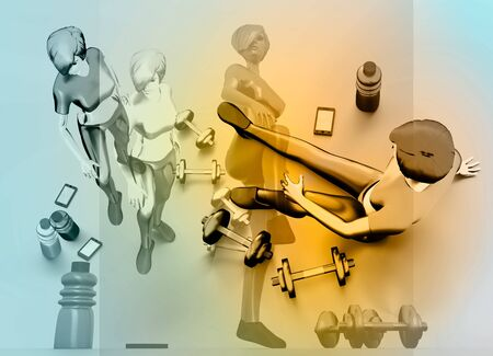 Sporty young women workout. 3D rendering. Fitness woman, phone, cottle and dumbbells. Sportsman posing