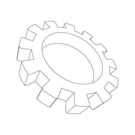 Isometric cog wheel model. Precision machinery concept. Technology and engineering