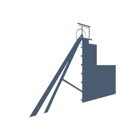 A special elevator for raising mineral resources. Isometric icon.