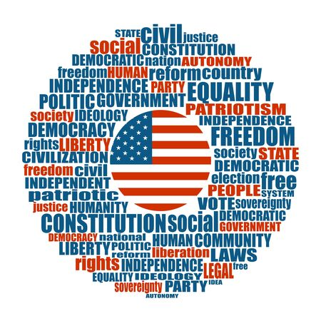 Word cloud with words related to politics, government, parliamentary democracy and political life. Flag of the USA