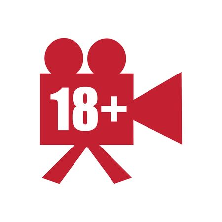 Sensitive and explicit video content. Inappropriate content. Internet safety concept. Censored only adult 18 plus. Retro reel cinema projector icon. Not safe for work concept Иллюстрация