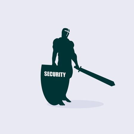 Silhouette of a medieval knight with sword and shield. Security word