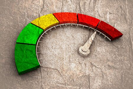 Color scale with arrow from red to green. The measuring device icon. Sign tachometer, speedometer, indicators. Colorful infographic gauge element. Stone surface texture Reklamní fotografie