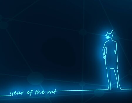 New Year greeting card template. 2020 year number. Brochure or report design template. Chinese hieroglyph that mean rat. Rat silhouette with human body. 3D rendering. Neon shine 版權商用圖片