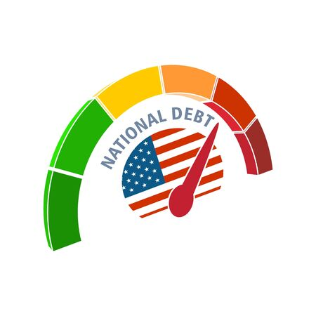 National debt meter read high level of national debt result. Color scale with arrow from green to red. The measuring device icon. Colorful infographic gauge element. National flag of USA