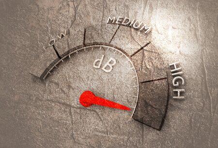 A device for measuring the sound intensity in decibels. Infographic gauge element. Reklamní fotografie