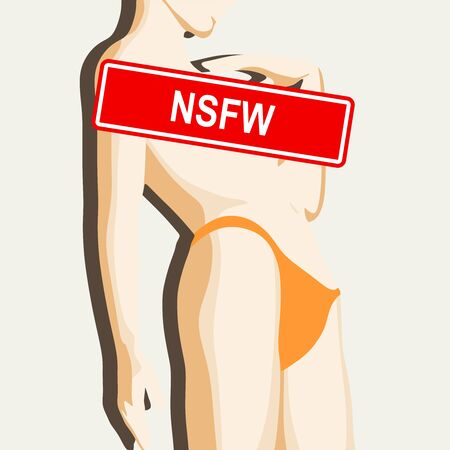 Sensitive photo content. Explicit video content. Inappropriate content. Internet safety concept. Censored only adult 18 plus. Stamp with NSFW text. Woman raising her hand to face. Not safe for work