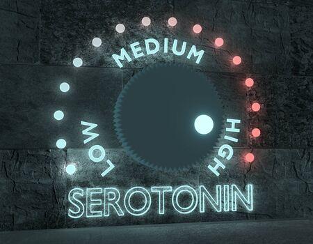 Hormone serotonin level adjust between low and high. Regulator with neon shine scale. 3D rendering