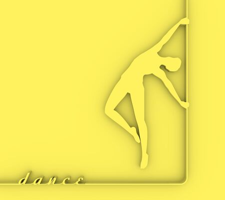 Silhouette of girl and pole. Pole dance illustration. 3D rendering.