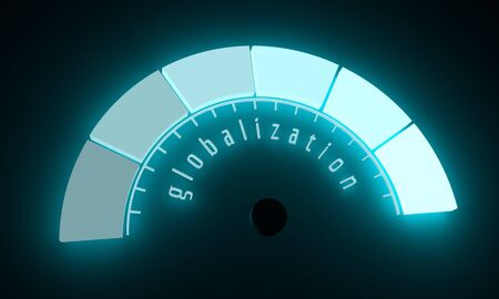 Neon shine scale. Globalization level measuring device icon. Sign tachometer, speedometer, indicators. Infographic gauge element. 3D rendering