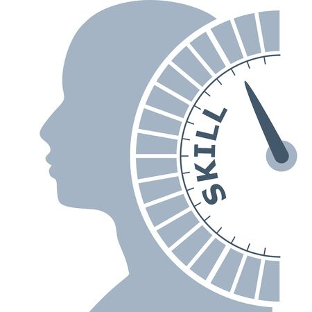 Scale with arrow. The skill level measuring device icon. Sign tachometer, speedometer, indicators. Infographic gauge element. Head of man silhouette.
