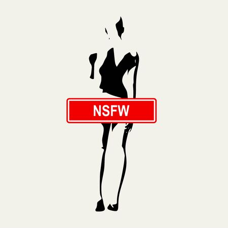 Sensitive photo content. Explicit video content. Inappropriate content. Internet safety concept. Censored only adult 18 plus. Stamp with NSFW text. Naked woman back view. Not safe for work Фото со стока