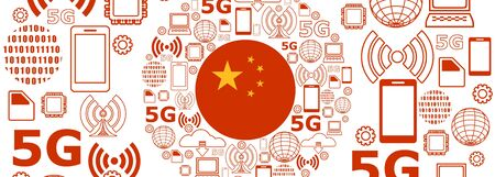 Mobile gadgets technology relative vector image. Circle frame with technology thin line icons. 5G Network Symbol. Flag of the China Иллюстрация