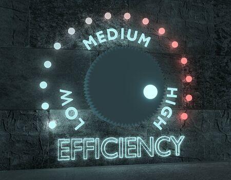 Efficiency level adjust between low and high. Regulator with neon shine scale. 3D rendering