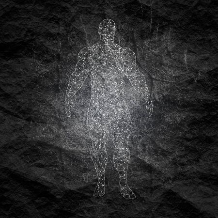 Bodybuilder silhouette. Icon of the posing athlete. Molecule and communication style icon. Connected lines with dots. Stok Fotoğraf