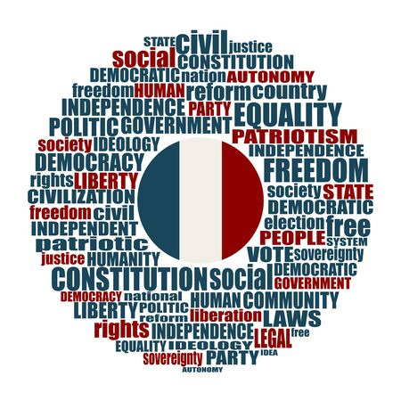 Word cloud with words related to politics, government, parliamentary democracy and political life. Flag of the France