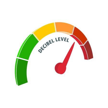 A device for measuring the sound intensity in decibels. Infographic gauge element. Isometric level scale from green to red with arrow.