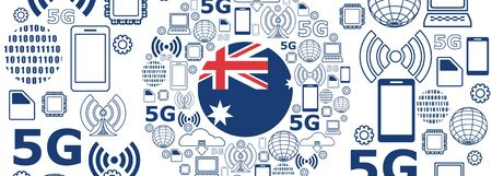 Mobile gadgets technology relative vector image. Circle frame with technology thin line icons. 5G Network Symbol. Flag of the Australia Иллюстрация