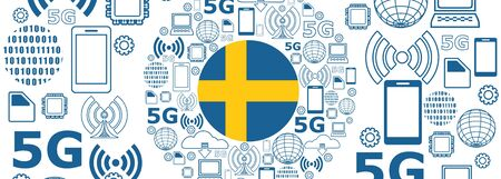 Mobile gadgets technology relative vector image. Circle frame with technology thin line icons. 5G Network Symbol. Flag of the Sweden