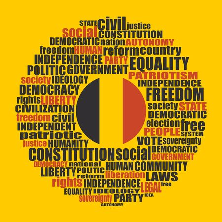 Word cloud with words related to politics, government, parliamentary democracy and political life. Flag of the Belgium
