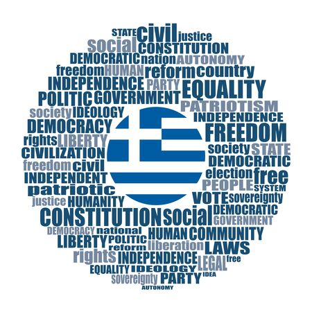Word cloud with words related to politics, government, parliamentary democracy and political life. Flag of the Greece