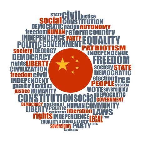 Word cloud with words related to politics, government, parliamentary democracy and political life. Flag of the China