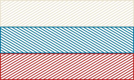 Russia national thin line style flag. Celebration card template for independence day. Ilustrace