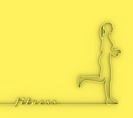 Running woman. Side view silhouette. Sport and recreation concept. 3D rendering. Stock fotó