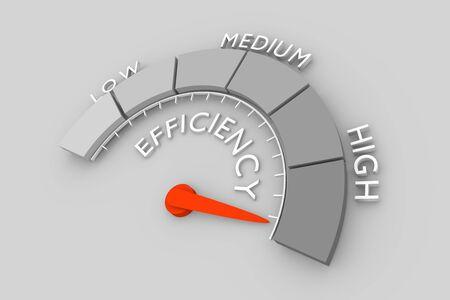 Escala de nivel de eficiencia con flecha. El icono del dispositivo de medición. Señal de tacómetro, velocímetro, indicadores. Elemento indicador de infografía. Representación 3D