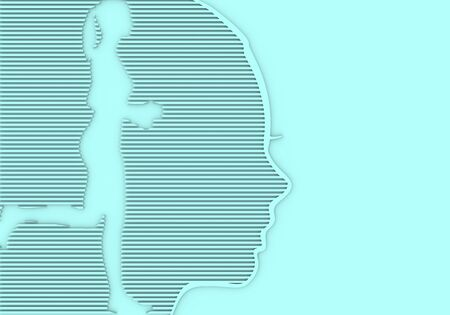 Face profile view. Elegant silhouette of a female head. Beautiful woman portrait. Running lady silhouette. 3D rendering.