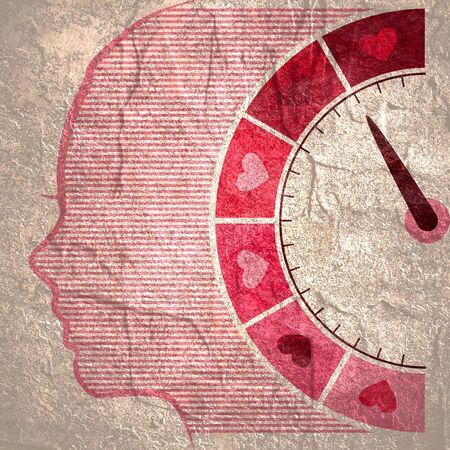 Color scale with arrow from pink to dark pink. The measuring device icon. Girl power text. Head of woman silhouette. Imagens