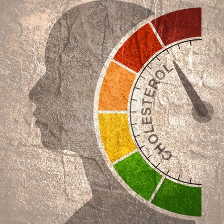 Cholesterol meter read high level result. Color scale with arrow from red to green. The measuring device icon. Colorful infographic gauge element. Head of man silhouette. Фото со стока