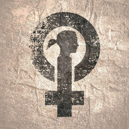 Female sign icon. Silhouette of woman head