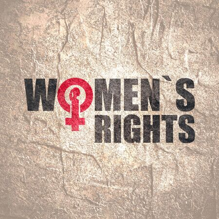 Female sign icon in womens rights text. Silhouette of woman head