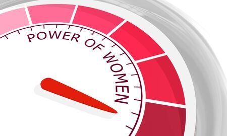 Indicator with arrow from pink to dark pink. The measuring device icon. Power of women text. 3D rendering Imagens
