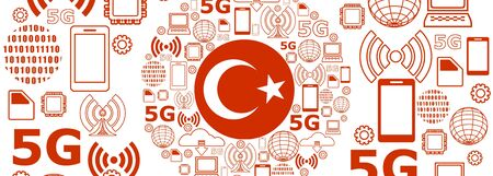 Mobile gadgets technology relative vector image. Circle frame with technology thin line icons. 5G Network Symbol. Flag of the Turkey