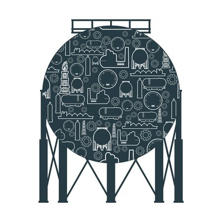 Energy and Power icon. Energy generation and heavy industry. Liquified gas storage tank