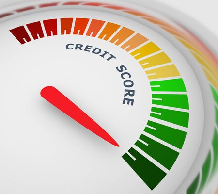 Credit score indicator and gauge. Measurement level illustration. 3D rendering
